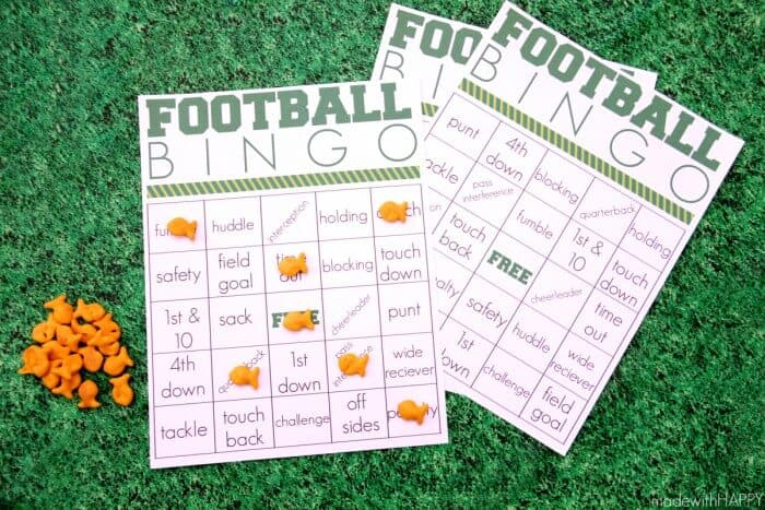 Printable Kids Football Games | Football Fun with Kids | Football Bingo Printables | Football TIC-TAC-TOE | How to make a paper football | www.madewithHAPPY.com