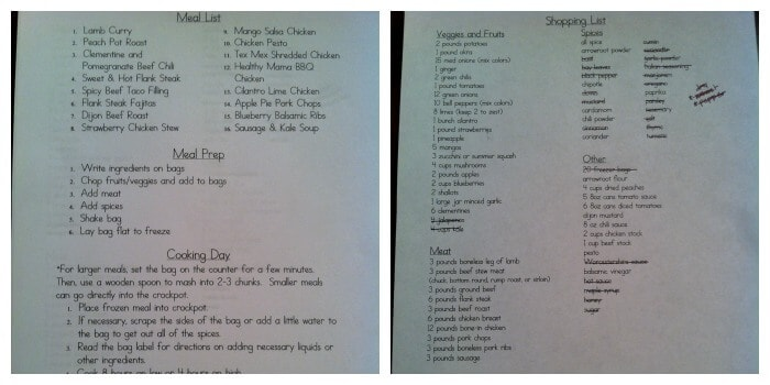 I posted my meal and instruction list (left) on the fridge.  That allows me to cross off meals as we use them and gives anyone else doing the cooking a quick reference for what to do.