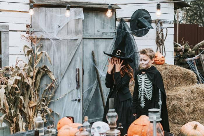 kids playing halloween charades