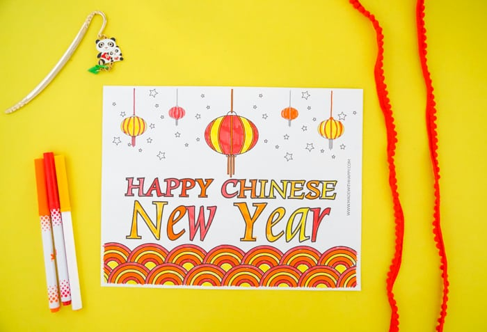 Happy Chinese New Year Coloring Page Colored