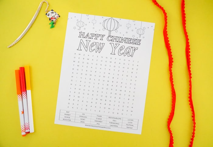 Chinese New Year Coloring Page and Word Search