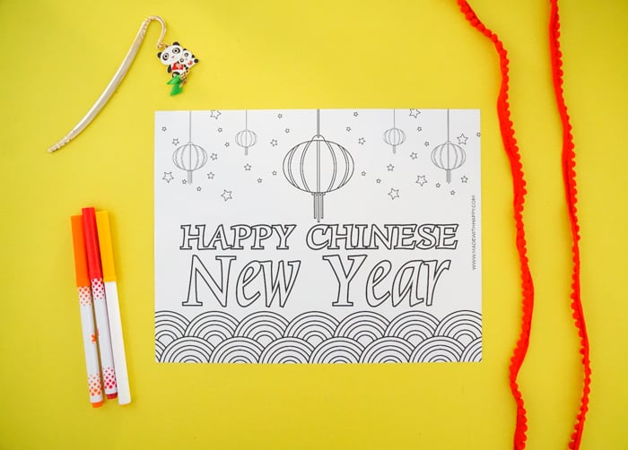 Happy Chinese New year Coloring Page for Kids