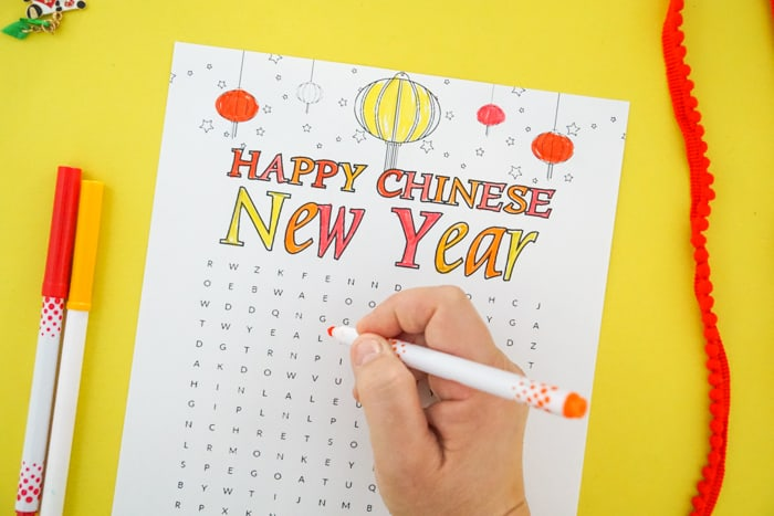 Colored Chinese New Year Word Search