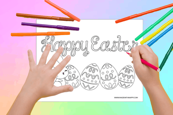 Kids coloring a Happy Easter printable