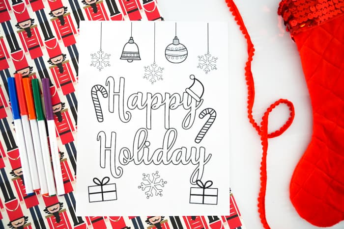 Printable Happy Holidays Coloring Pages