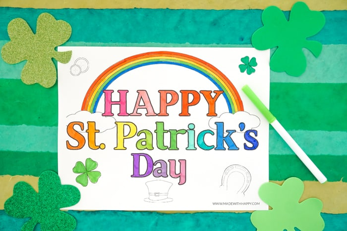 Rainbow Printable Coloring Page for St. Patrick's Day