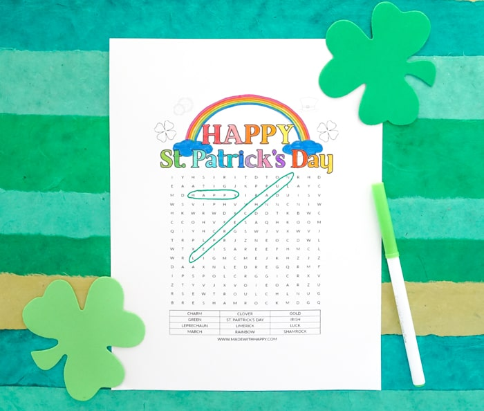 Free Printable St. Patrick's Day Word Search Printables