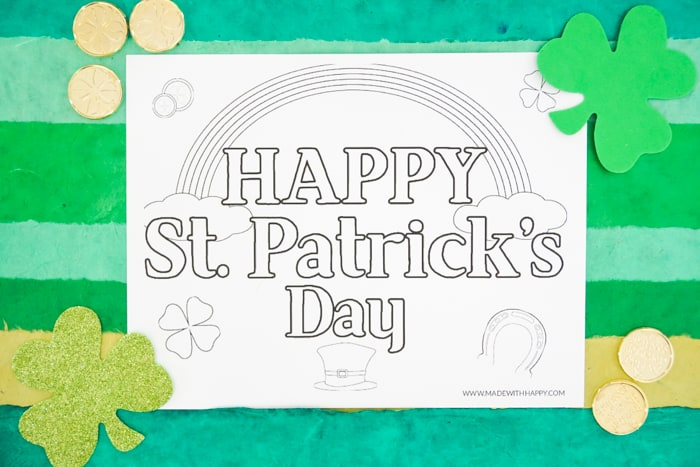 Happy St. Patrick's Day Printable Coloring Page