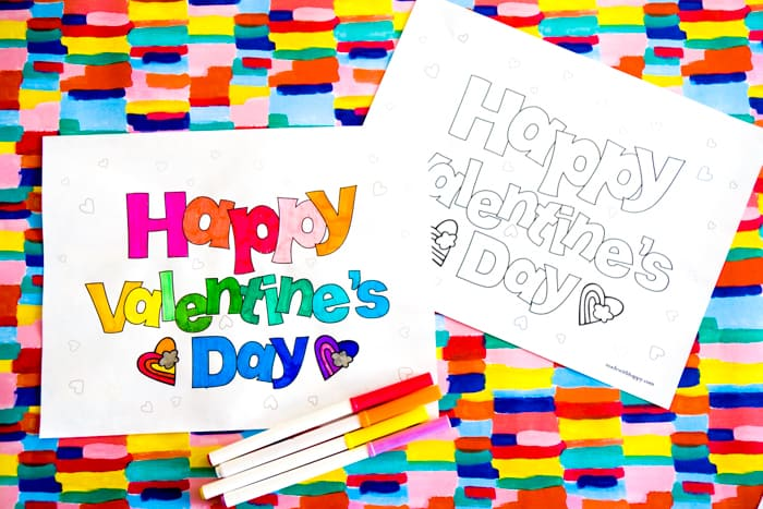 Happy Valentines Day Coloring Sheets Made With Happy