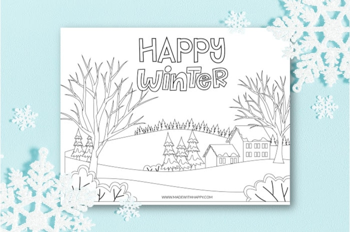 Happy Winter Coloring Page with snowflakes