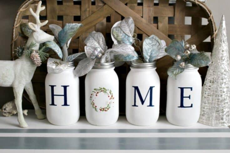 Make A Pretty Mason Jar Christmas Centerpiece