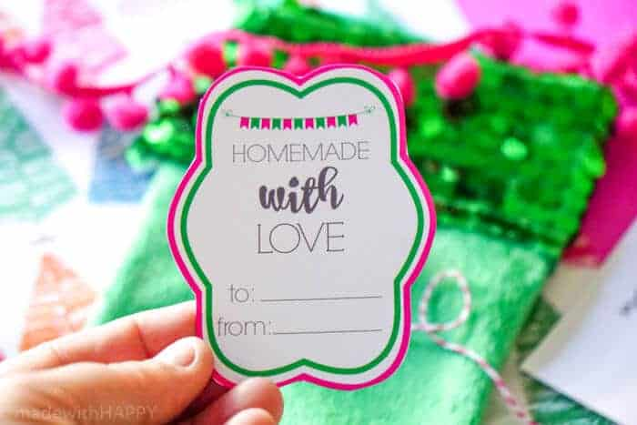 Homemade with Love printable gift tag