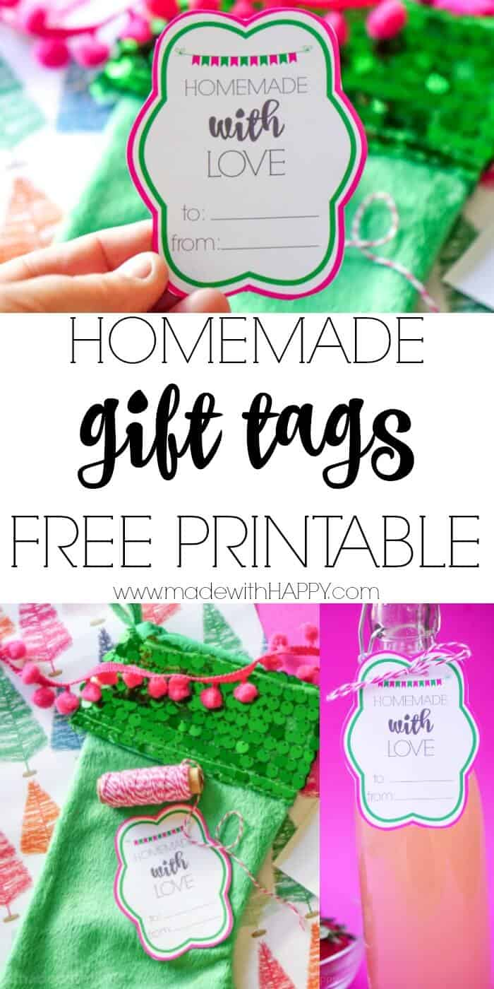 Making you gifts this year?  We have the perfect homemade with love gift tags ready to print! Free printable gift tags. Christmas tag printables. Homemade gifts