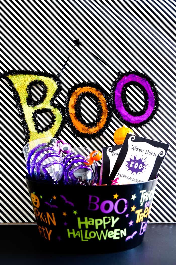 Halloween themed bucket from dollar store.