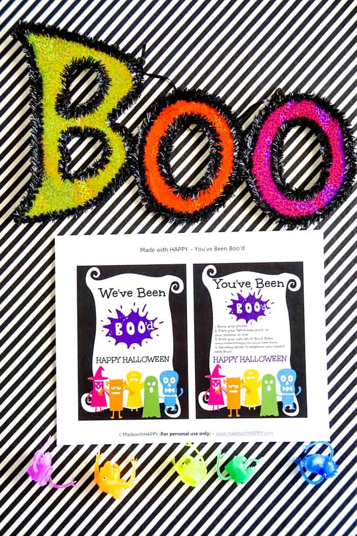 Colorful signs with boo letter printable