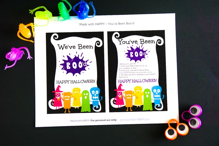 Boo Letter Printable with colorful Halloween trinkets