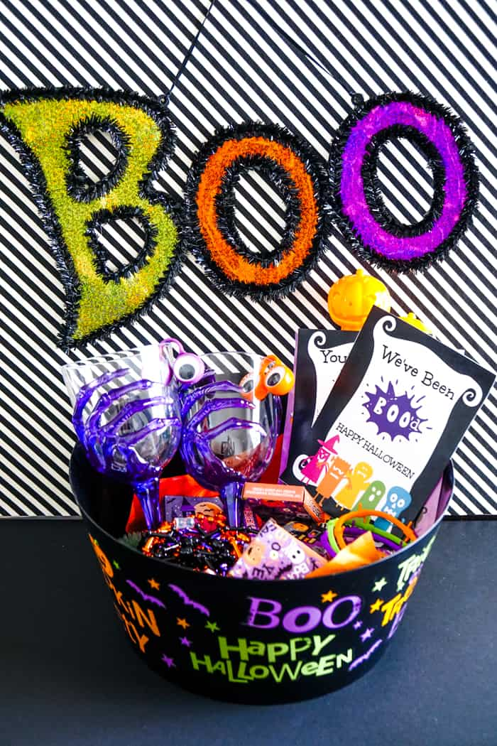 Filled boo bucket with halloween goodies