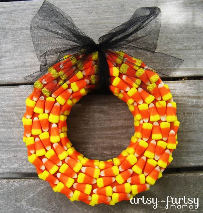 candy corn mini wreath
