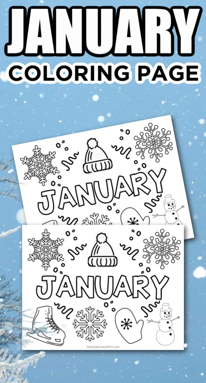 Free Printable January Coloring Page