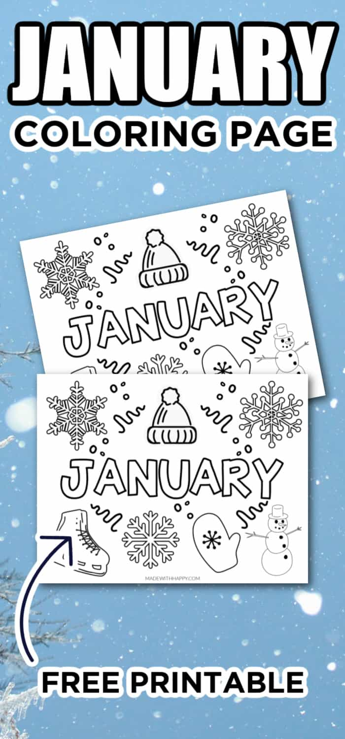 Printable COloring page for kids for January