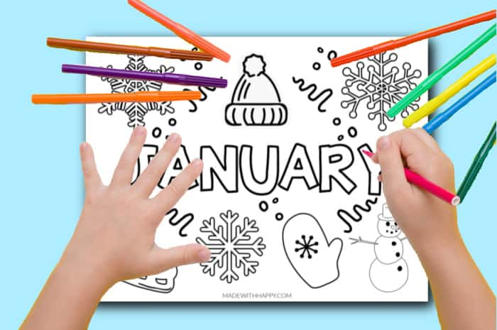 Children's coloring page January
