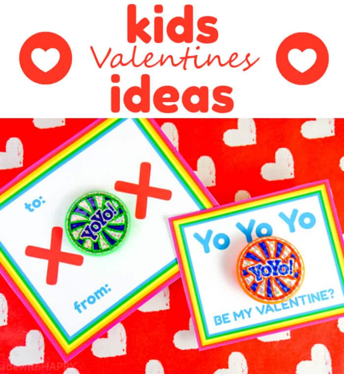Kids Valentines Ideas that are inexensive and non-candy valentines. We're sharing two different free printable valentines for YoYos. XOXO Valentines.
