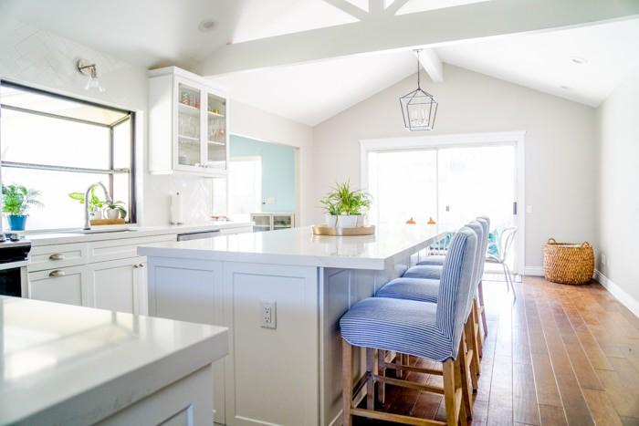 All White Kitchen with blue accents. Kitchen renovation. Classic White Kitchen, Modern Farmhouse Style Kitchen. All White Kitchen.