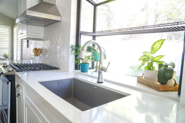 White Herringbone Kitchen backsplash. Kitchen renovation. Classic White Kitchen, Modern Farmhouse Style Kitchen. All White Kitchen.