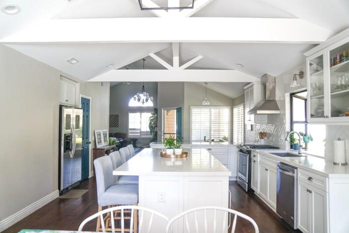 Kitchen renovation. Classic White Kitchen, Modern Farmhouse Style Kitchen. All White Kitchen. Open Floor Plan.