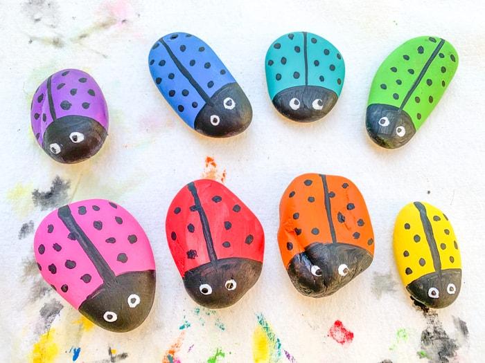 Rainbow Ladybug Rocks