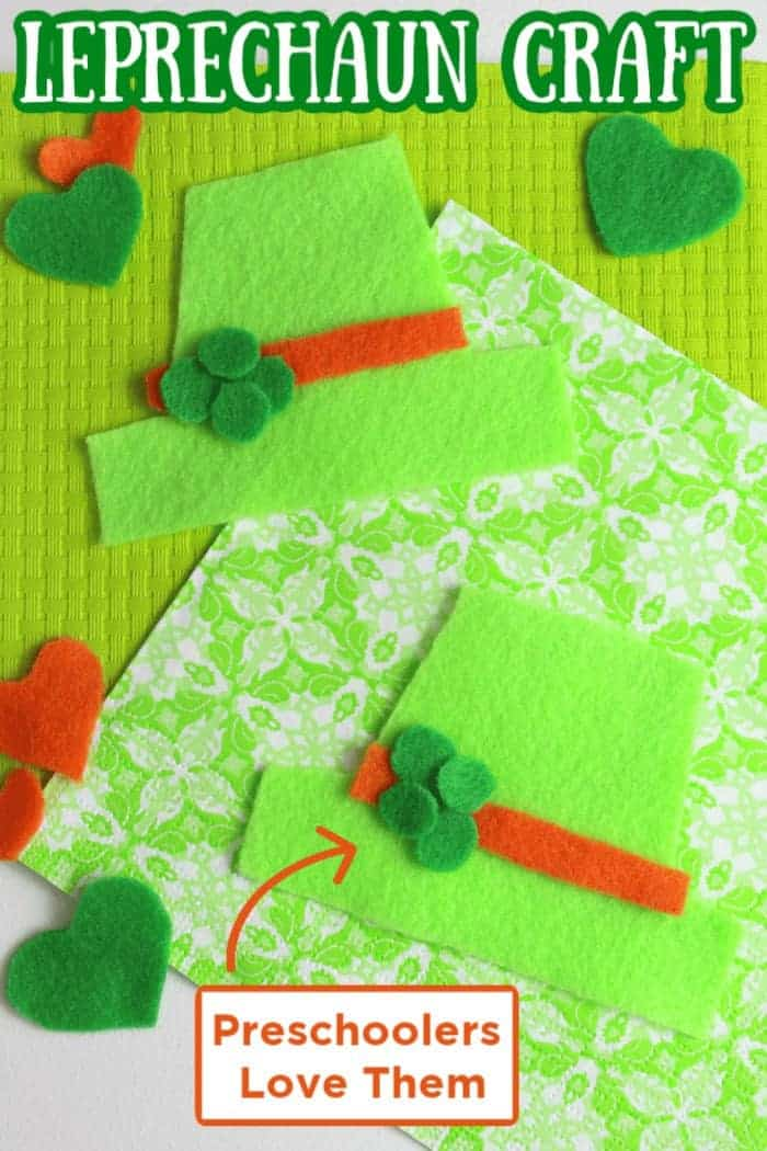 These sweet felt leprechaun hats are a fun St. Patrick's Day craft. Preschoolers and Toddlers love this Leprechaun craft.