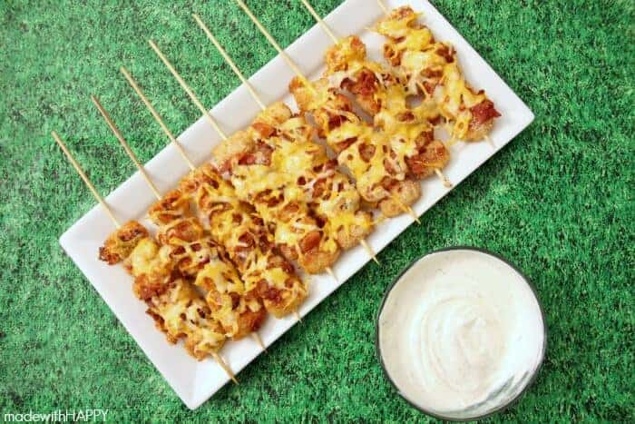 Loaded Tater Tot Skewers, shared by Made with Happy at the Clever Chicks Blog Hop