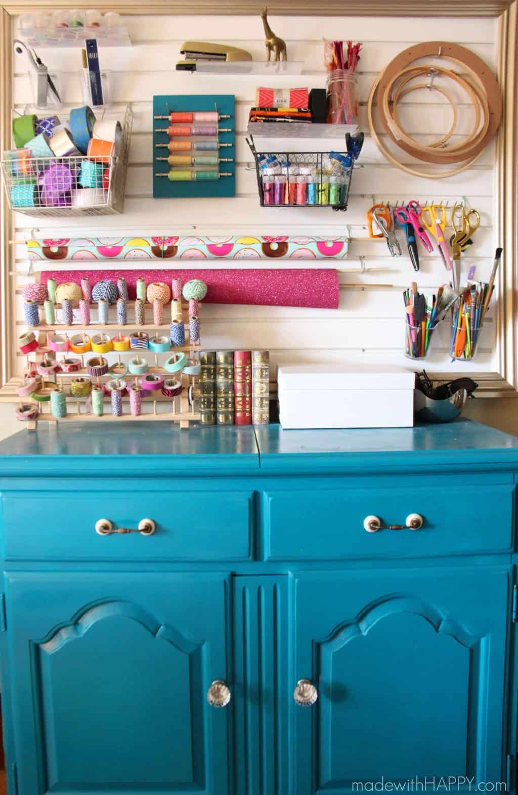 Craft Room Tour | Made with HAPPY Craft Room | Slat Wall, Rainbow Straws, Gold Striped Furniture and more | Organizing Crafts | Office Craft Room Ideas | www.madewithHAPPY.com
