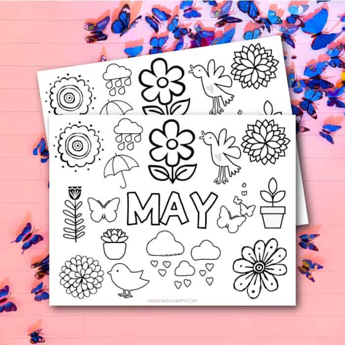 may coloring sheet square