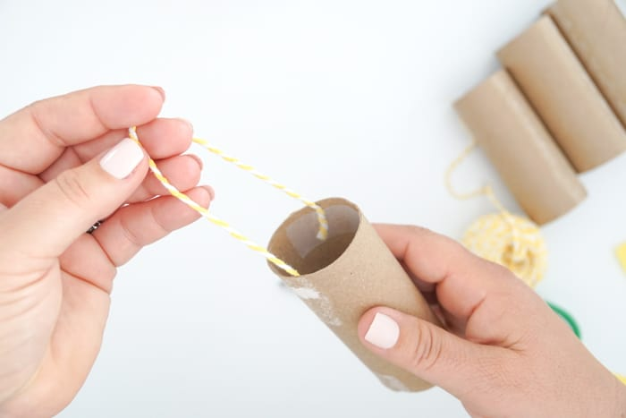 tape both ends of string to the inside of the toilet paper roll