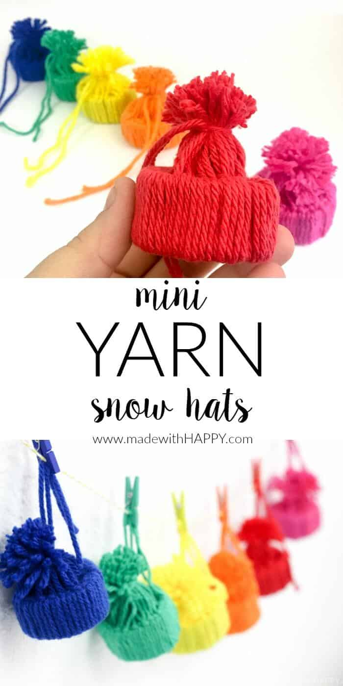 Mini Yarn Snow Hats   Yarn Projects   Yarn Kids Crafts   Simple Yarn Crafts   Toilet Paper Roll Crafts   Simple Kids Crafts   www.madewithhappy.com
