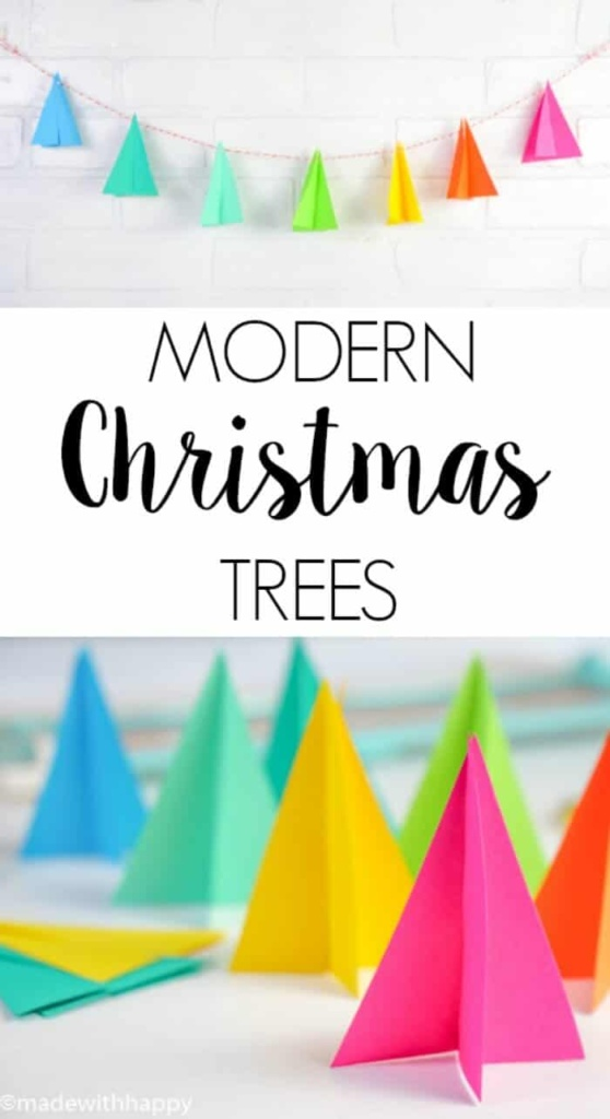 Modern Christmas Trees. Paper Christmas Trees. Kids Christmas Crafts. Bright colorful Christmas decor.