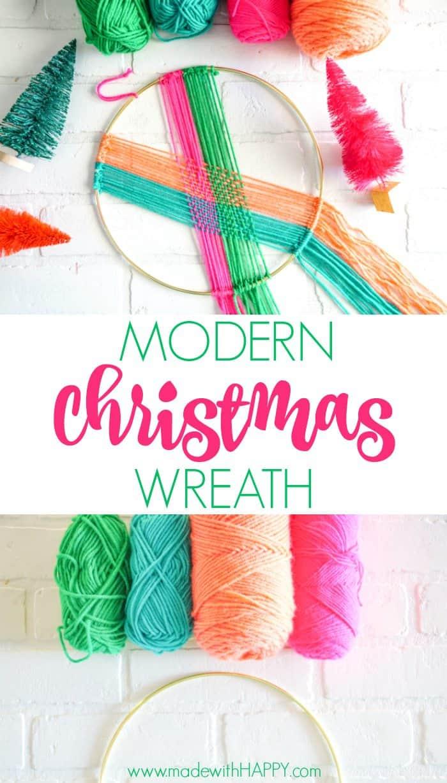 Modern Christmas Wreath.  Colorful Wall Hang.  Simple modern Christmas decor. DIY Wall Hang Ideas. Modern Wall Hangs with a lot of color. Colorful Wall Hangs. Christmas wreaths made out of yarn.