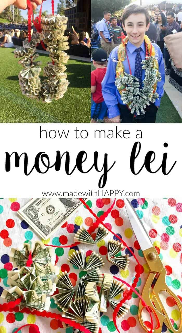 How to make a money lei | Graduation Money Lei | Graduation Money Necklace How To | Graduation Gifts | www.madewithhappy.com