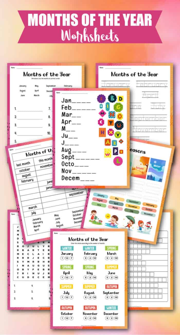 Kids Worksheets for Months of the Year