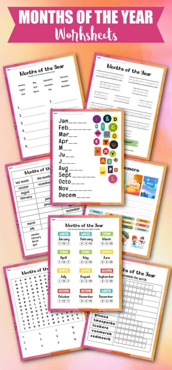 Printable Months of the Year Worksheets
