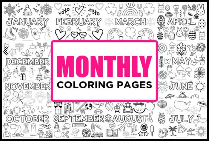 Coloring pages for kids each month