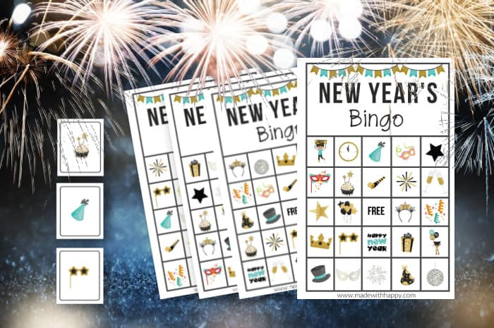 New years bingo cards