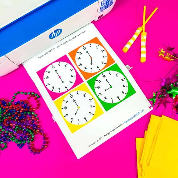New years Printable Clocks