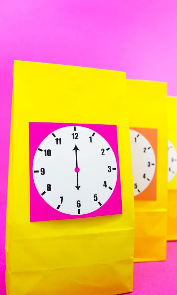Bright Colored printable clock