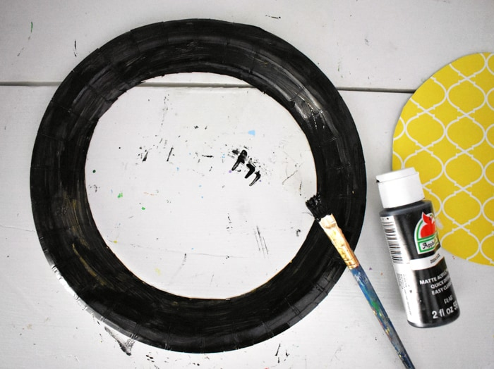 paper plate ring painted black