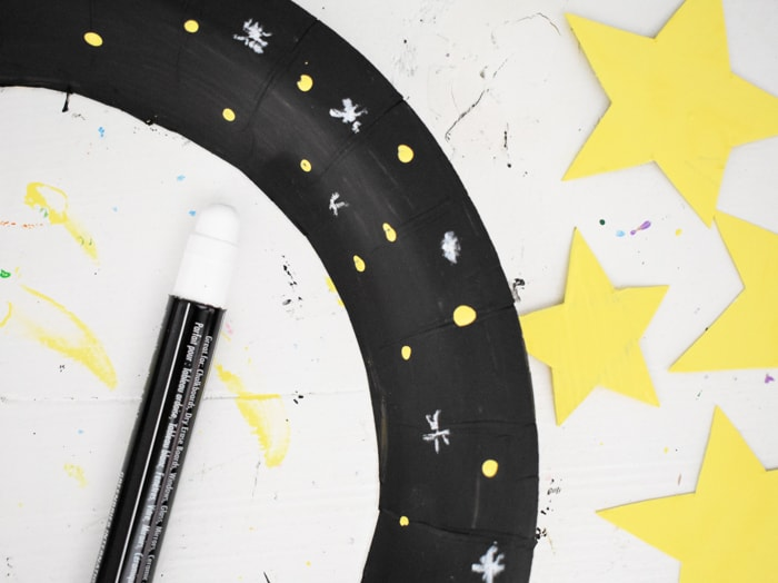 white dots and stars painted on black ring