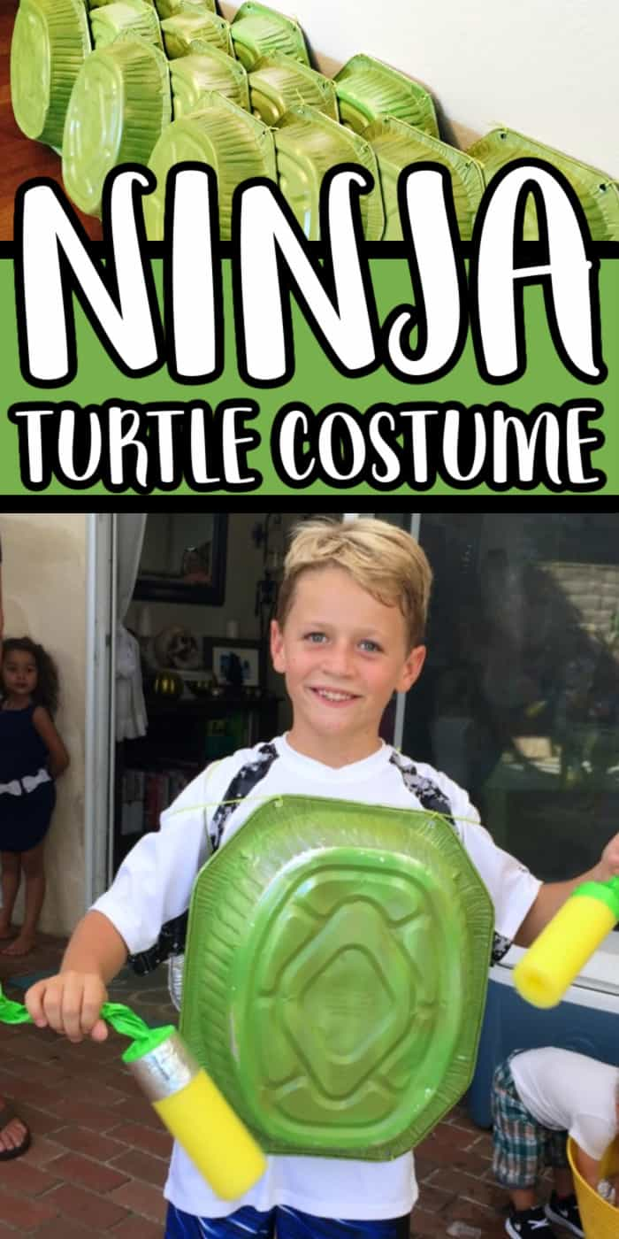 We're sharing a quick and easy DIY Teenage Mutant Ninja Turtle Shell made from simple supplies from the dollar store.