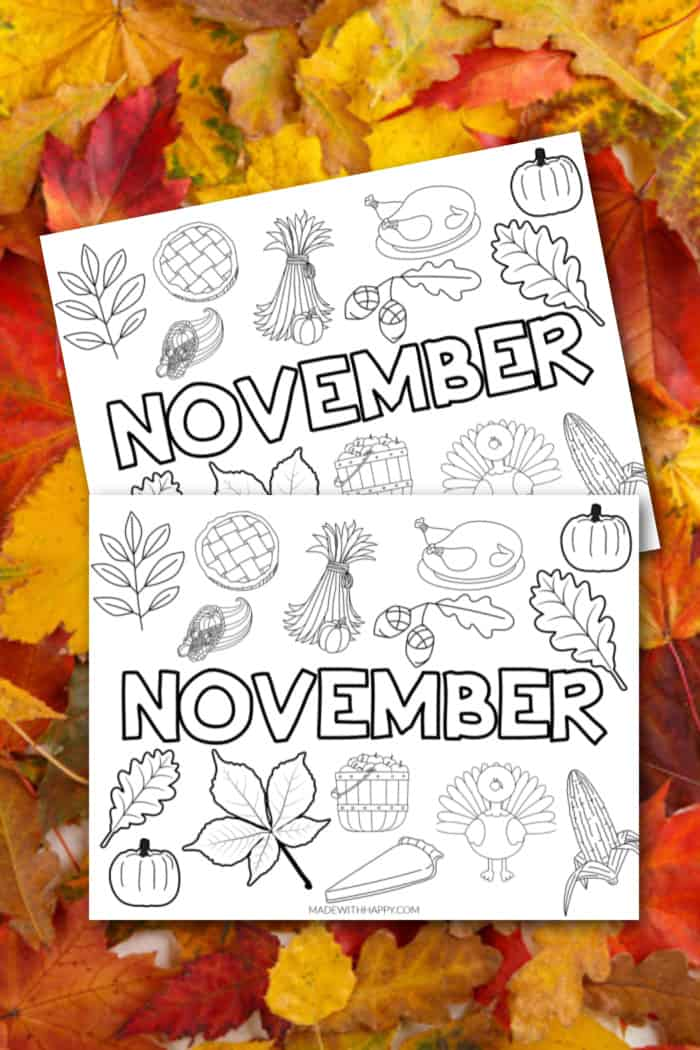Month of November Coloring Pages