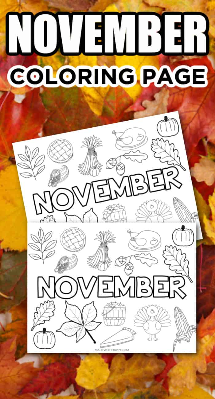 Free Printable November Coloring